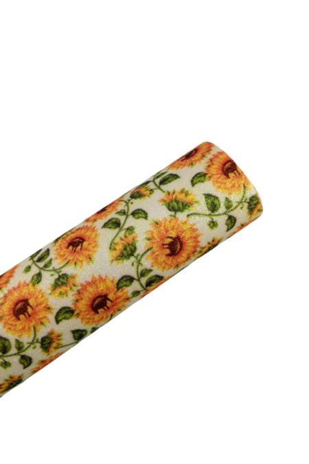 Fine Glitter Sunflowers Faux Leather