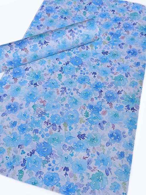 Blue Watercolor Floral Faux Leather Sheets