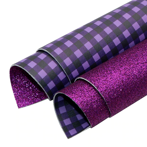 Double Sided Purple Glitter and Plaid Leather Sheets