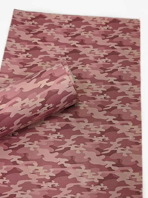 Pink Camo Faux Leather Sheet