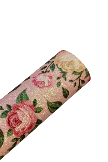 Fine Glitter Roses on Pink Faux Leather Sheet