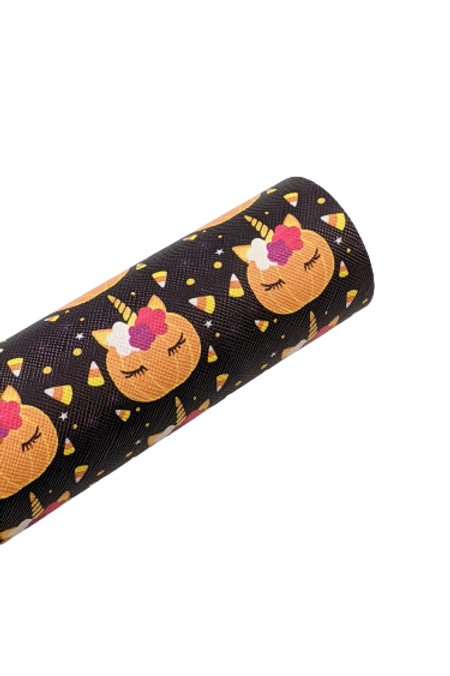 Unicorn Pumpkin Black Faux Leather Sheets