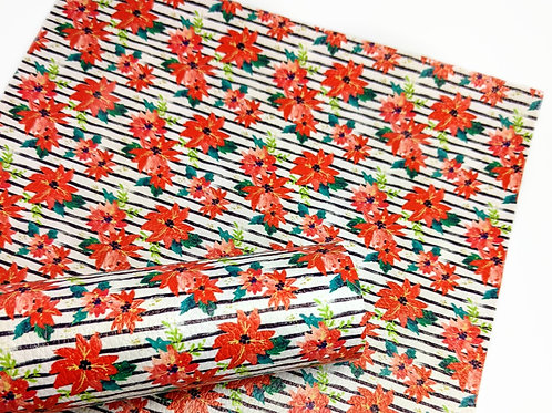Red Floral With Stripes Faux Leather Sheets