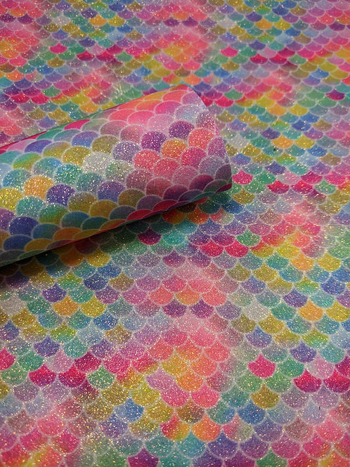 Bright Rainbow Glitter Mermaid Scales Faux Leather Sheets