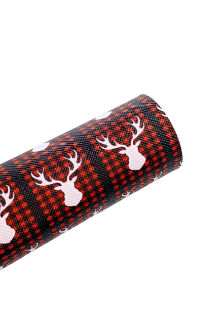 Deer and Plaid Background Faux Leather Sheets