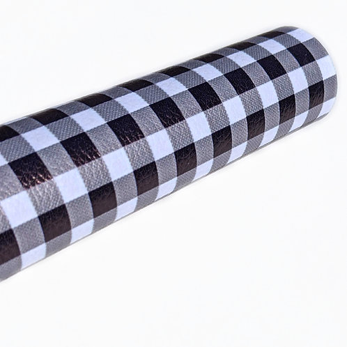 White and Black Plaid Faux Leather Sheets