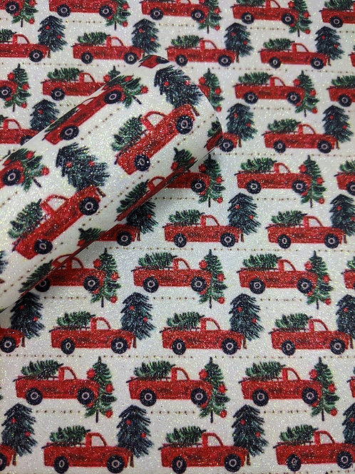 Glitter Little Red Truck Christmas Tree Faux Leather Sheets