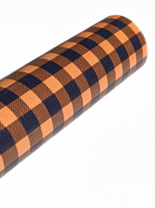 Orange and Black Plaid Faux Leather Sheets