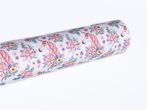 Floral Unicorns Print Faux Leather Sheets