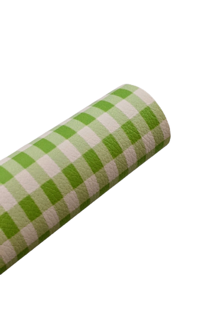 Green and White Plaid Faux Leather Sheets