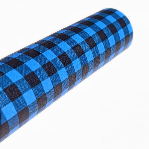 Blue and Black Plaid Faux Leather Sheets