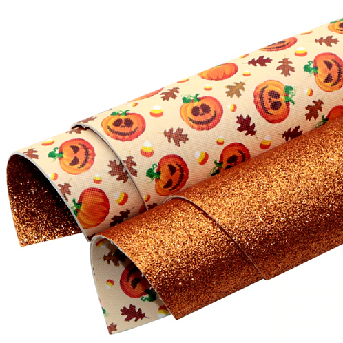 Double Sided Orange Glitter and Jack-O-Lanterns Leather Sheets