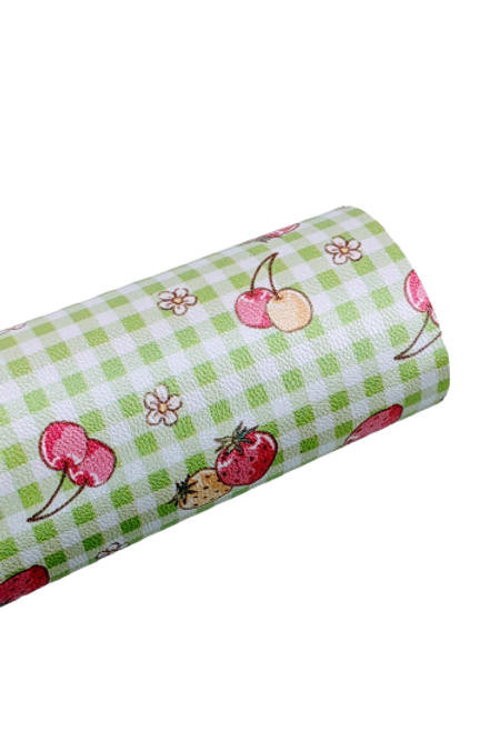 Strawberries and Cherries Faux Leather Fabric Sheets