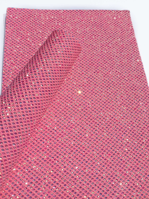 Pink Fishnet chunky glitter faux leather sheets