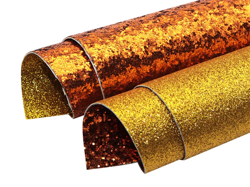 Double Sided Orange Chunky Glitter and Gold Fine Glitter Leather Sheets