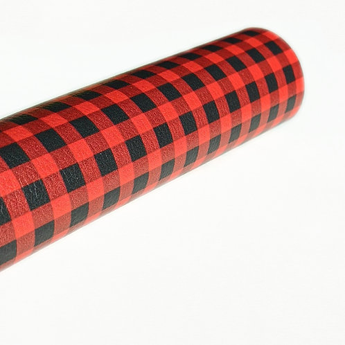 Red and Black Plaid Faux Leather Sheets