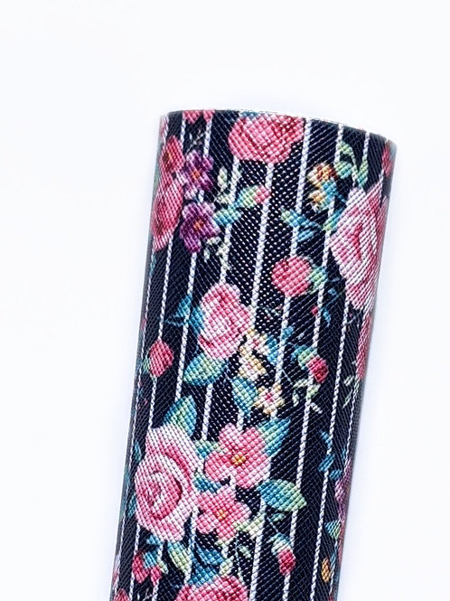 Pink Floral with Stripe Background Faux Leather Sheet