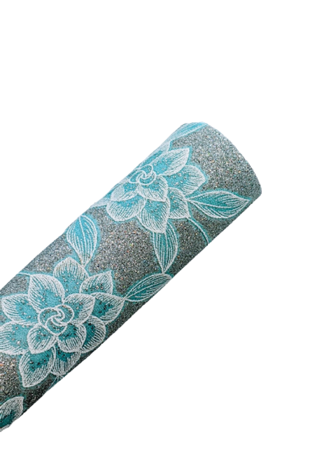 Fine Glitter Blue Floral Faux Leather Sheets