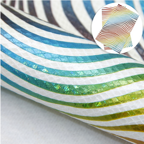Rainbow Holographic Wave Print Faux Leather Sheets