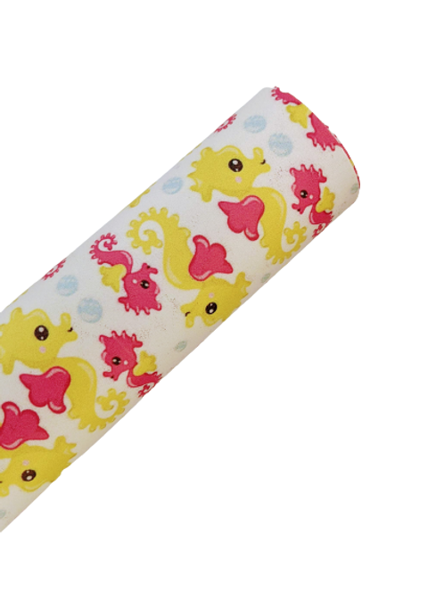 Yellow and Pink Seahorse Faux Leather Sheets