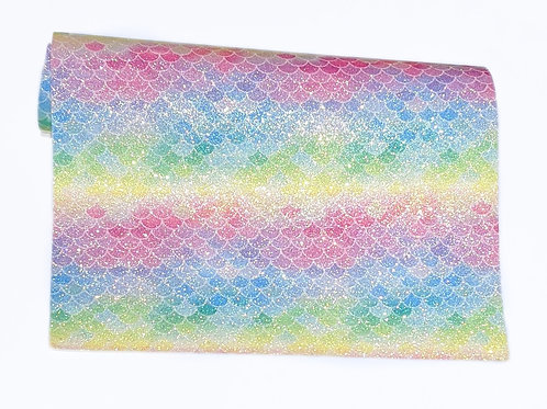 Rainbow Mermaid Fish Scales Fine Glitter Faux Leather Sheet