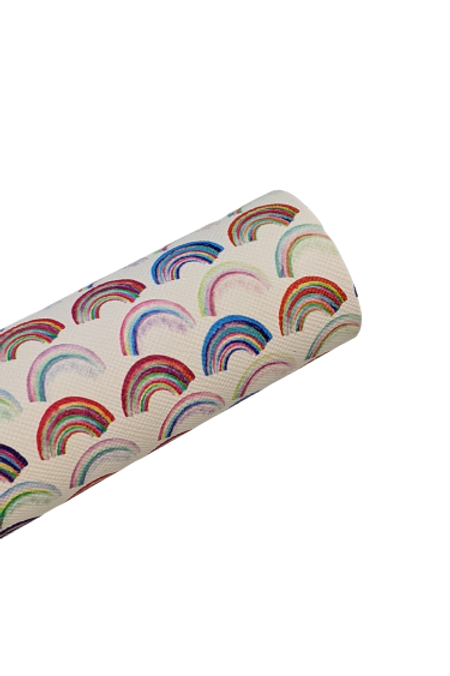 Rainbows Print Faux Leather Sheets
