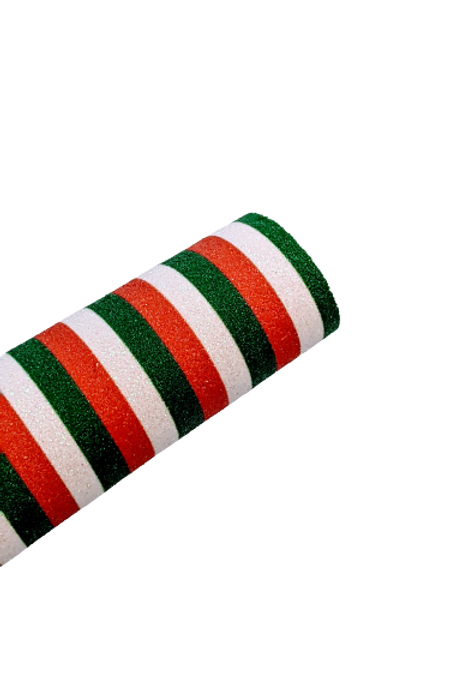 Red, White & Green Stripe Fine Glitter Faux Leather Sheets