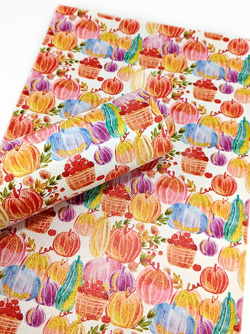 Multi Colored Pumpkin and Squash Faux Leather Sheets
