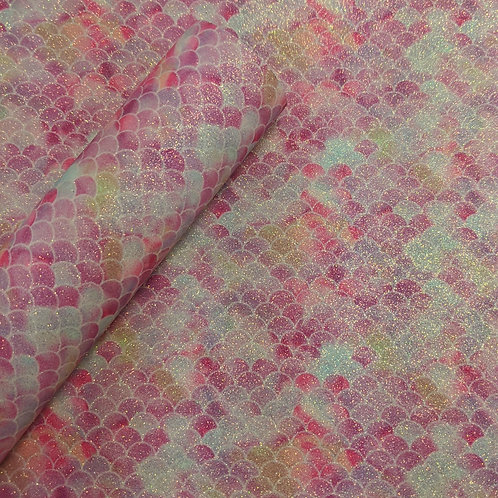 Pink Glitter Mermaid Scale Faux Leather Fabric Sheets