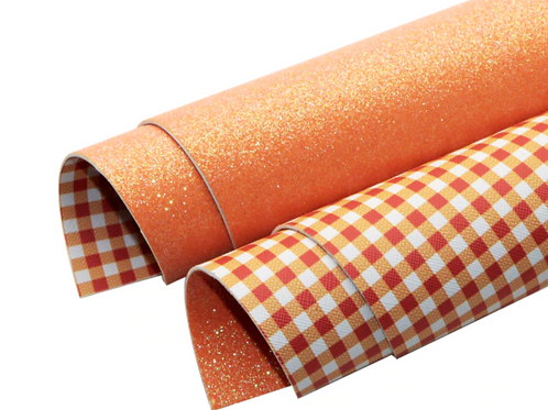 Double Sided Orange Glitter and Orange Plaid Leather Sheets