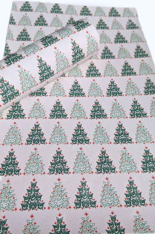 Doggie Christmas Tree Print Faux Leather Sheets
