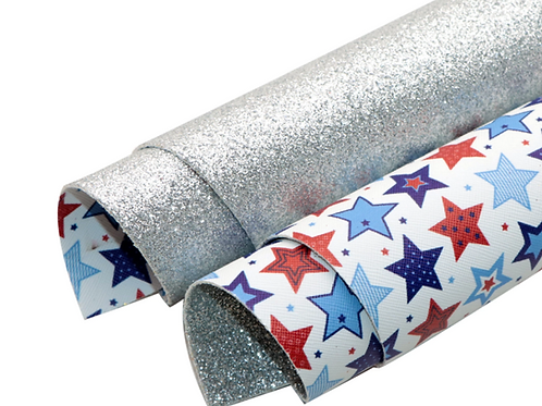 Double Sided Silver Glitter and Stars Leather Sheets
