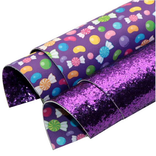 Double Sided Chunky Purple Glitter and Candy Leather Sheets