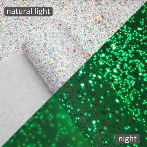 Fine Glitter Glow in the Dark Faux Leather