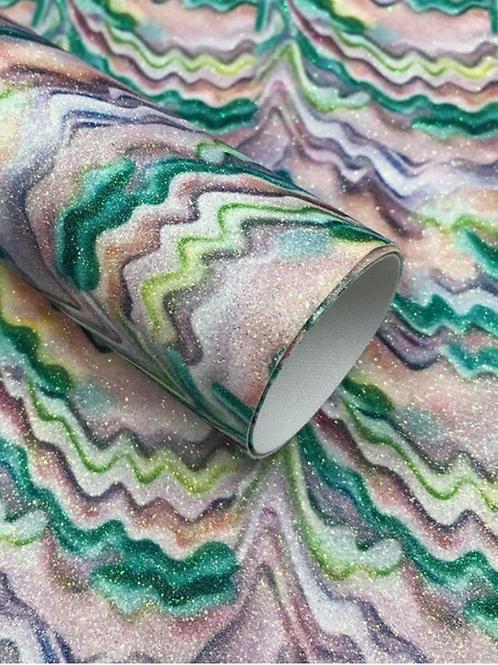 Green Watercolor Fine Glitter Faux Leather Sheets