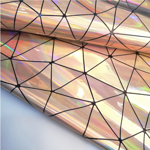 Rose Gold Holographic Geometric Fabric Leather Sheets