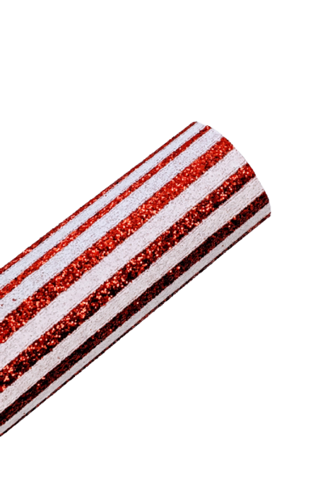 White and Red Glitter Stripes Faux Leather Sheet