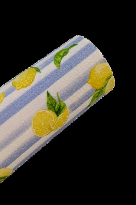 Lemons on Stripes Faux Leather Sheets
