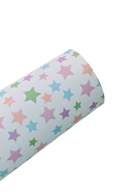 Multicolored Starts Faux Leather Fabric Sheets