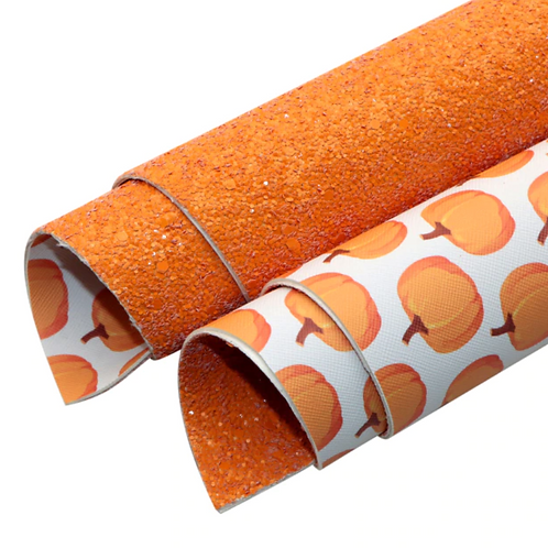 Double Sided Chunky Orange Glitter and Pumpkins Leather Half Sheets