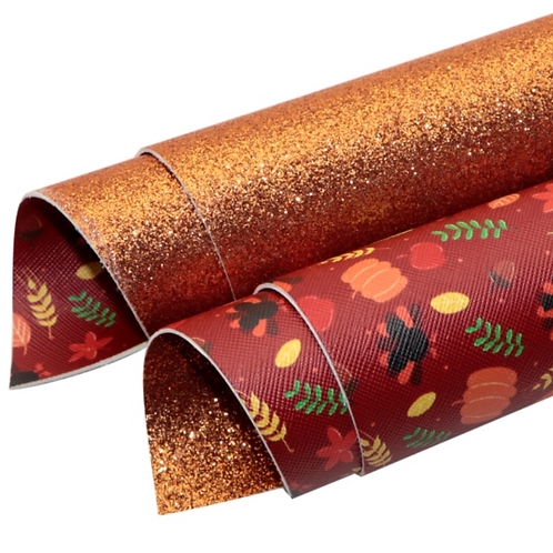 Double Sided Thanksgiving and Orange Fine Glitter Faux Leather Sheets