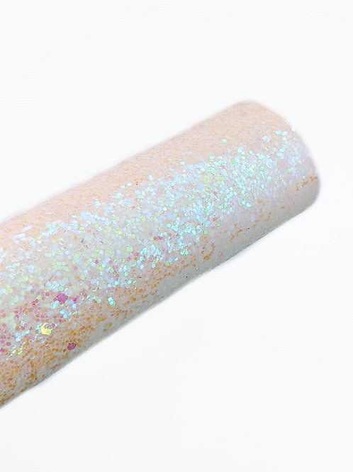 Iridescent White/Pink Chunky GlitterFaux Leather Sheet