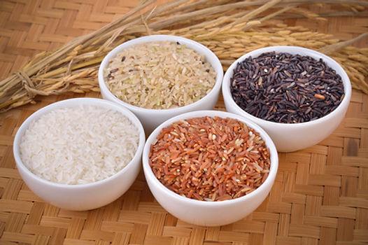 riz de couleur, blanc, demi-complet, rouge et noir