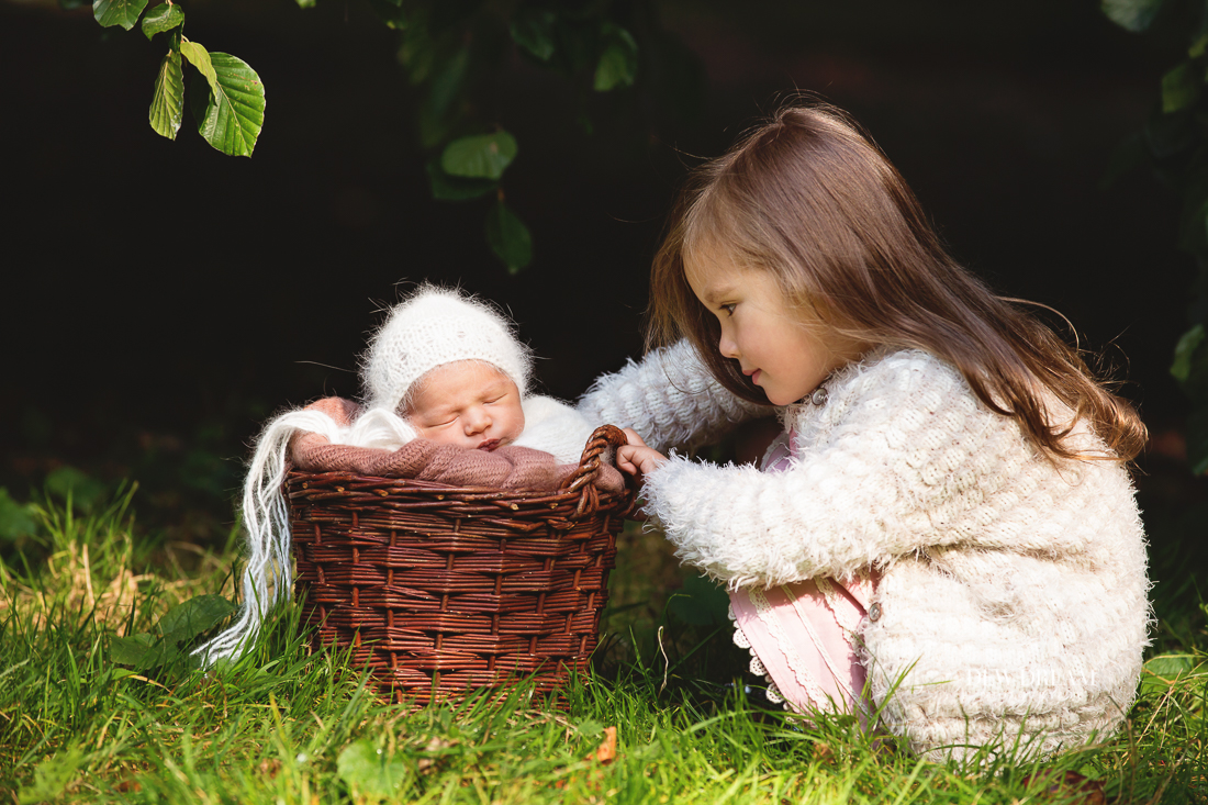 newborn photo outdoors