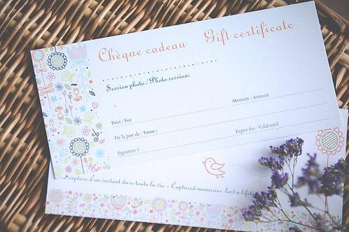 Chèque cadeau-gift certificate
