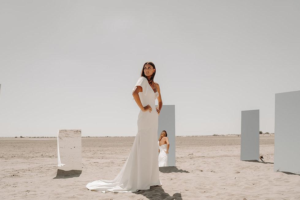 20H00 robe mariee bustier asymétrique élégante dentelle createur marseille