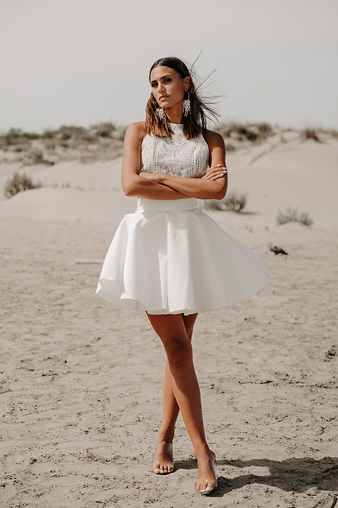 12H30 jupe patineuse top brodé dentelle moderne mariee civil couture createur marseille