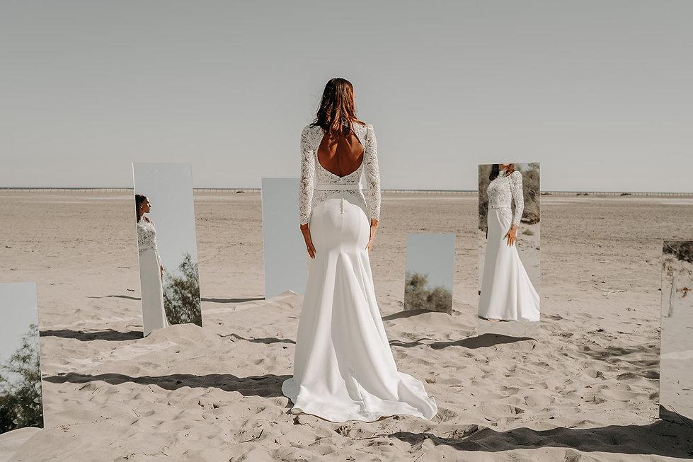21H30 robe mariee sirene broderie dentelle sensuelle manches longues createur marseille