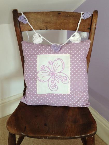 Lavender & White Crochet Hearts