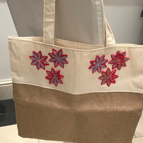 Hessian/Calico Natural Fabric Tote Bag Fully Lined
